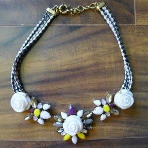 J.Crew White Flower & Rope Statement Necklace